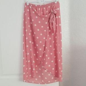 Pink + White Polka Dot Tie Skirt